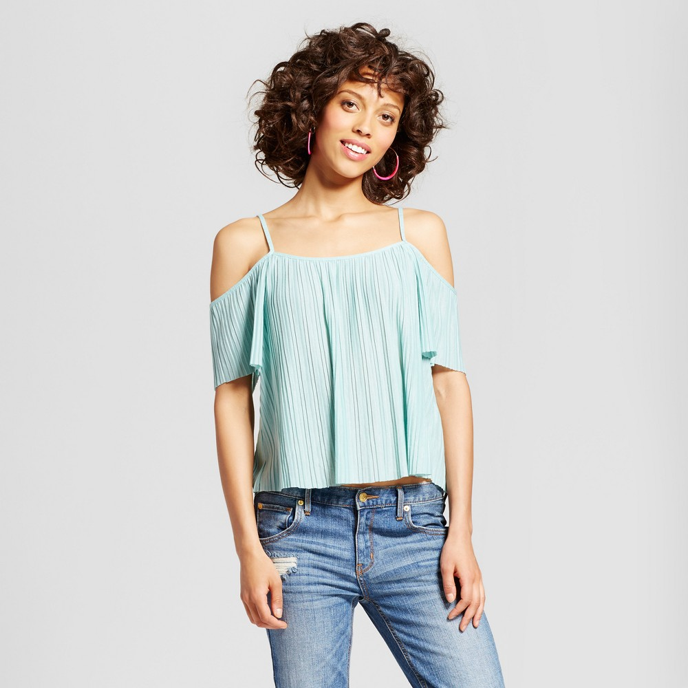 Womens Pleated Cold Shoulder Short Sleeve Top - Soul Cake (Juniors) Green L