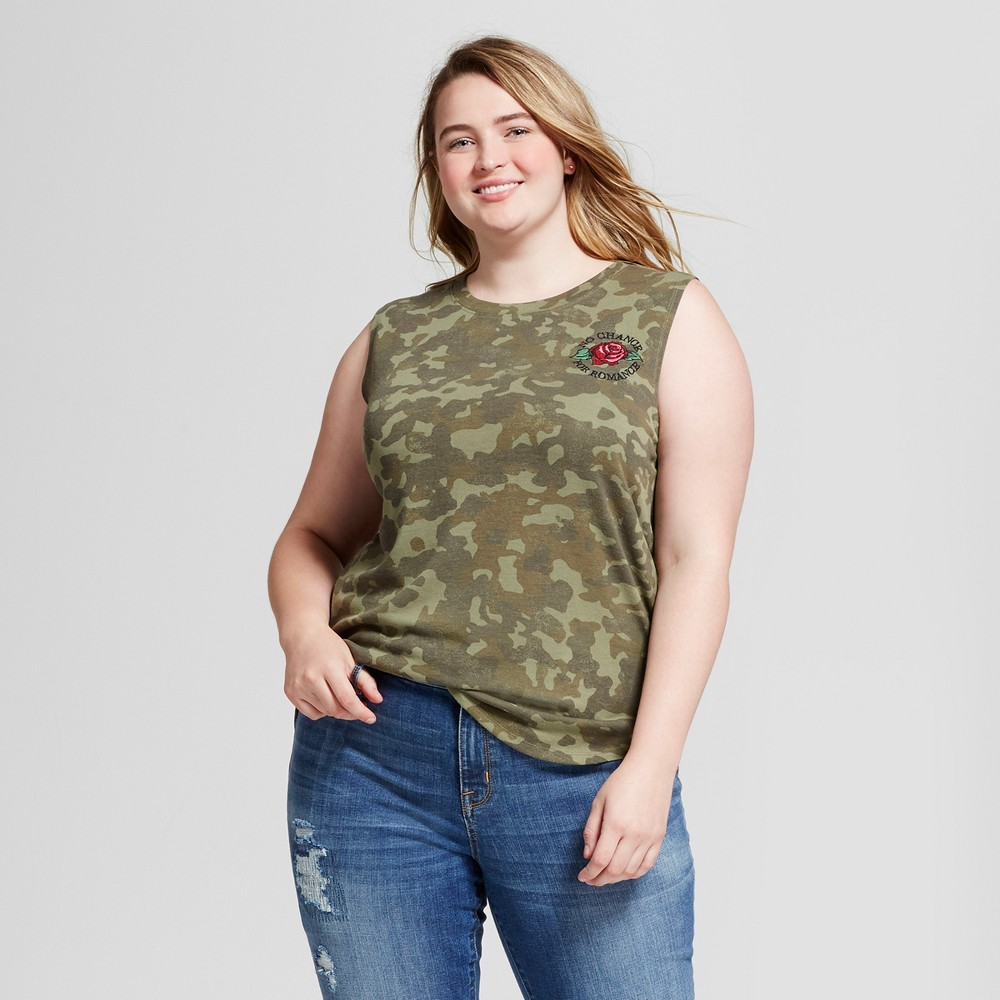 Womens Plus Size No Chance for Romance Hacci Graphic Tank Top Camo Green 1X - Modern Lux
