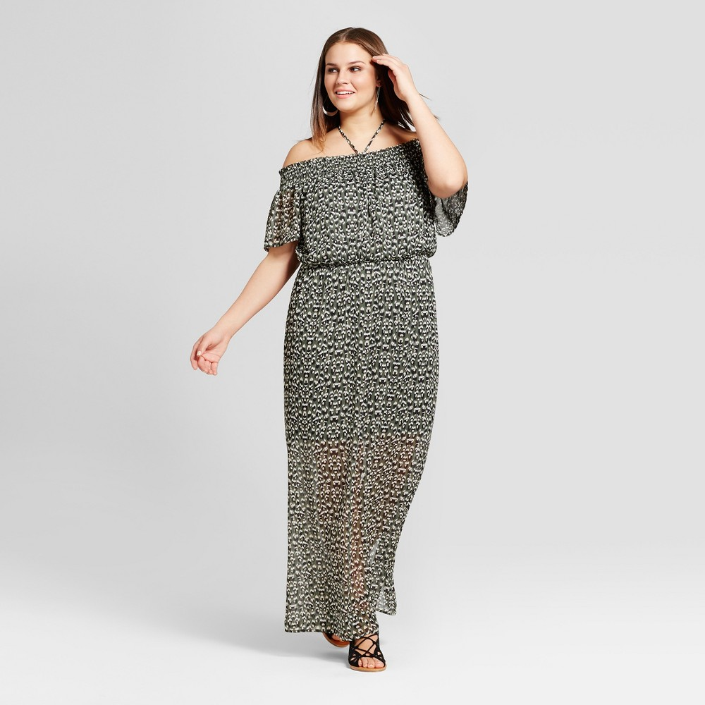 Womens Plus Size Floral Print Off the Shoulder Maxi Dress - Lily Star (Juniors) - Black/Tan 1X, Green