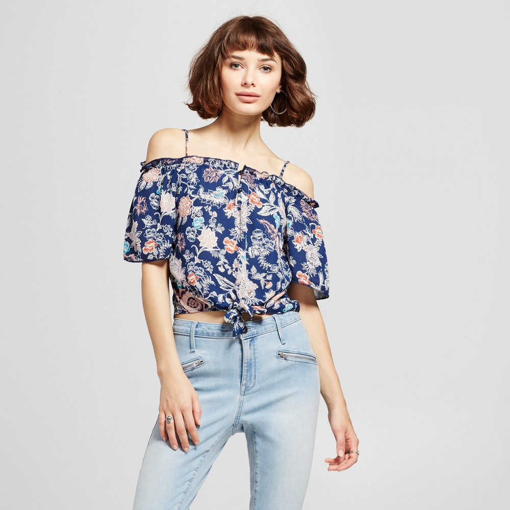 Womens Printed Off the Shoulder Tie Waist Top - Lily Star (Juniors) Blue L