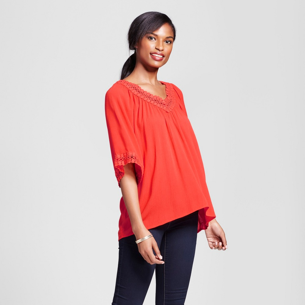 Womens Peasant Blouse with Crochet Trim - Loramendi - Tomato S, Red