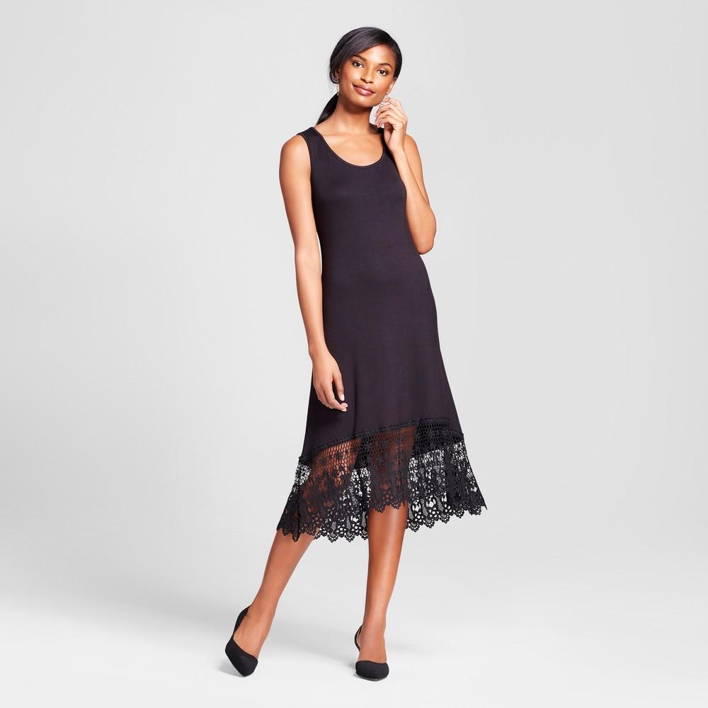 Womens Sleeveless Maxi Dress with Crochet Trim - Loramendi - Black L