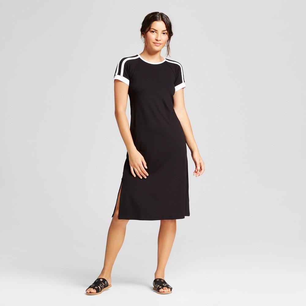 Womens Short Sleeve Athletic Stripe Knit Dress - Loramendi - Black/White XL