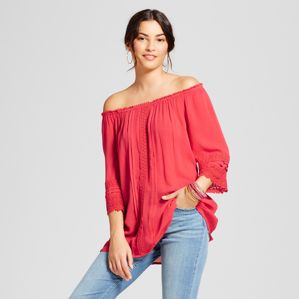 Womens Off the Shoulder Crochet Trimmed Peasant Top - Loramendi - Brick S, Red