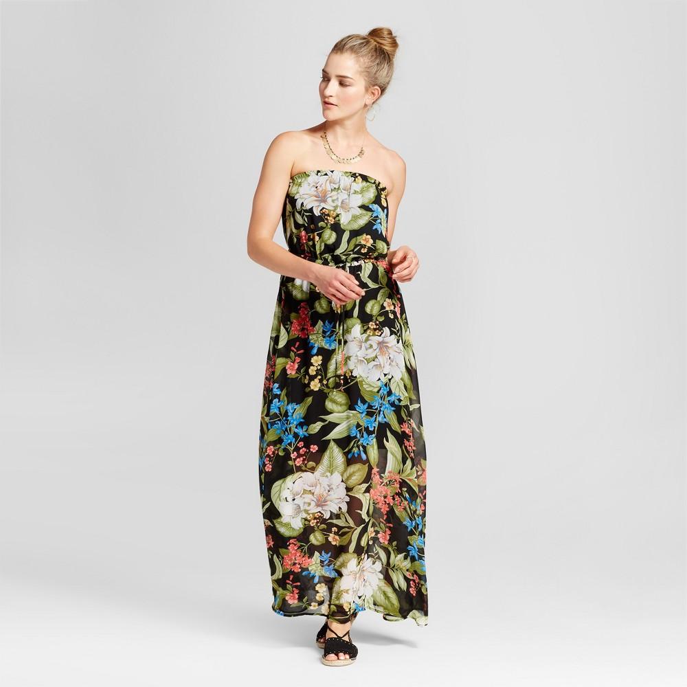 Womens Sleeveless Tropical Maxi Dress - Loramendi - Black Floral S
