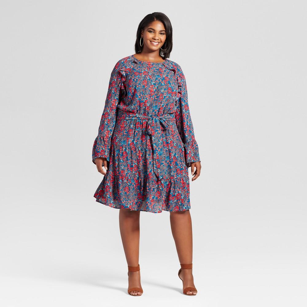 Womens Plus Size Ruffle Easy Waist Mini Floral Dress - Ava & Viv Deep Teal X, Blue