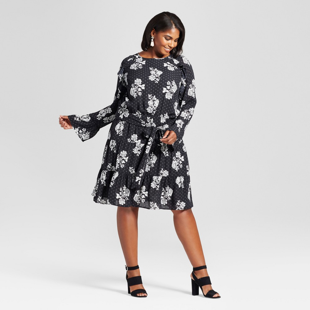 Womens Plus Size Ruffle Easy Waist Floral Dress - Ava & Viv Black X