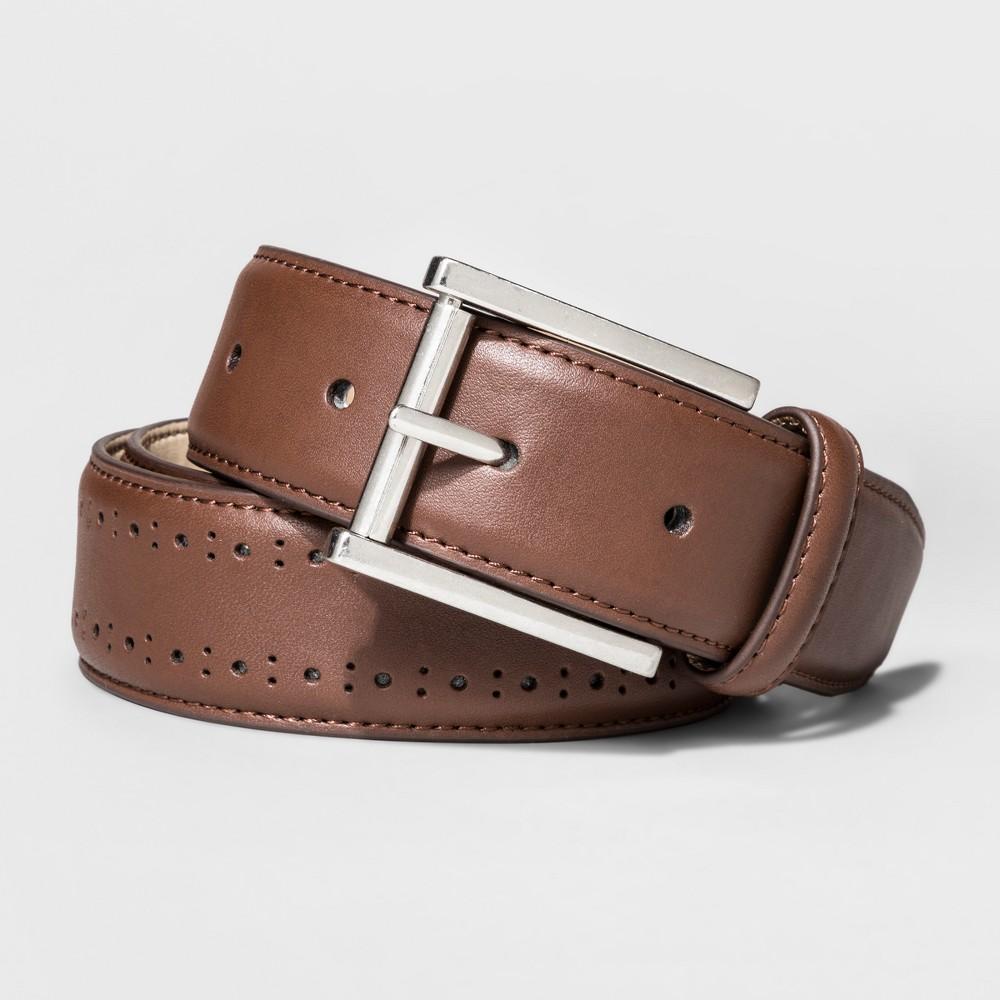Mens Faux Leather Laser Cut Belt - Goodfellow & Co - Brown XL