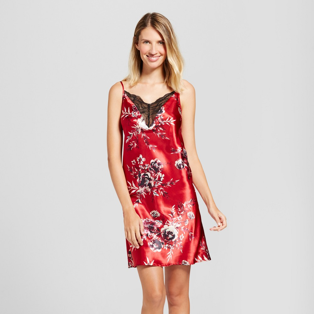 Womens Satin Floral Chemise - Red XL