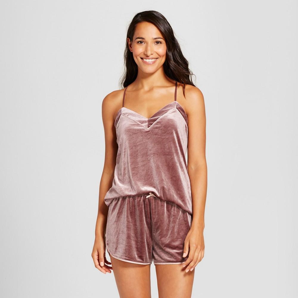 Womens Velour Pajama Set Brown Rose S