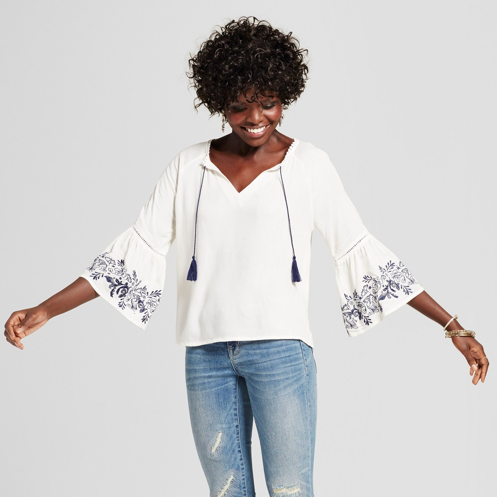 Womens Embroidered Bell Sleeve Tie Neck Top - Grayson Threads (Juniors) White L, Beige