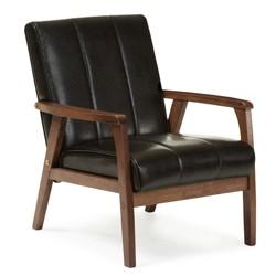 Nikko Mid - Century Modern Scandinavian Style Faux Leather Wooden Lounge Chair - Baxton Studio