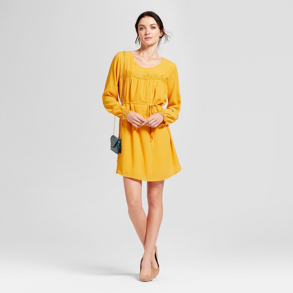 Womens Long Sleeve Lace Detail Crepe Dress - A New Day Gold Xxl