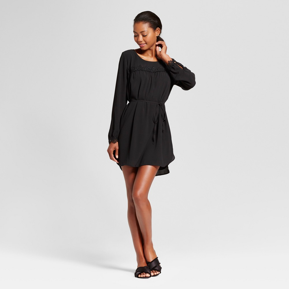 Womens Long Sleeve Lace Detail Crepe Dress - A New Day Black M