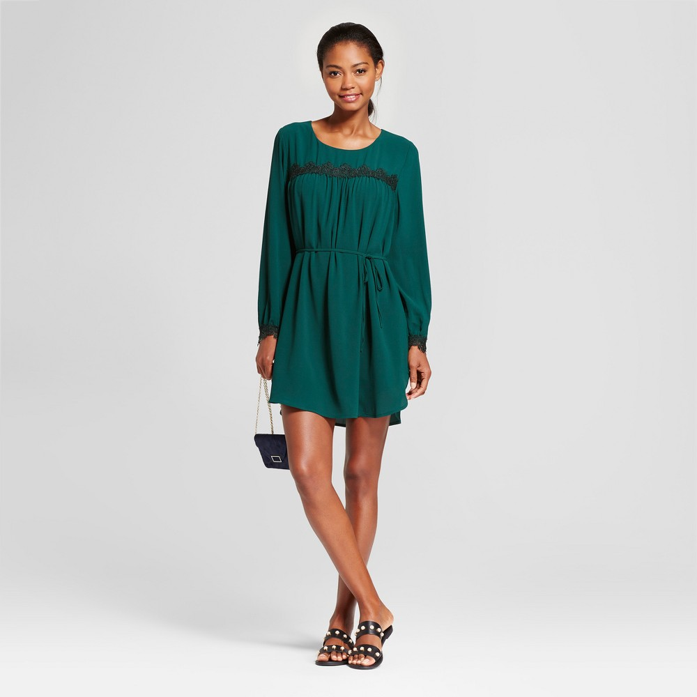 Womens Long Sleeve Lace Detail Crepe Dress - A New Day Dark Green L