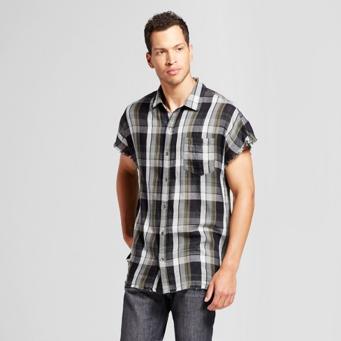 Men's Cutoff Button Up Shirt - Jackson™ Olive Plaid - image 1 of 2