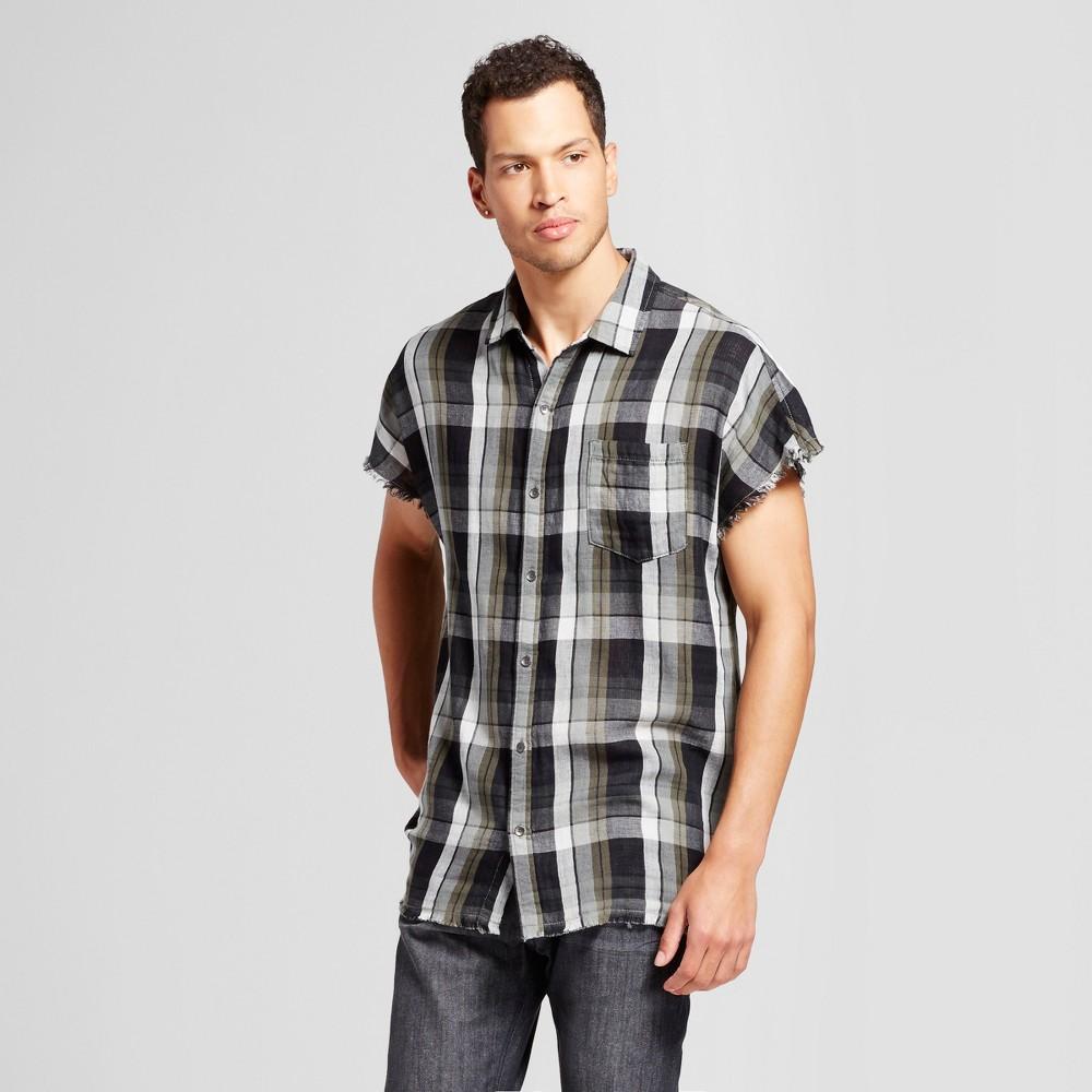 Mens Cutoff Button Down Shirt - Jackson Olive Plaid M, Green