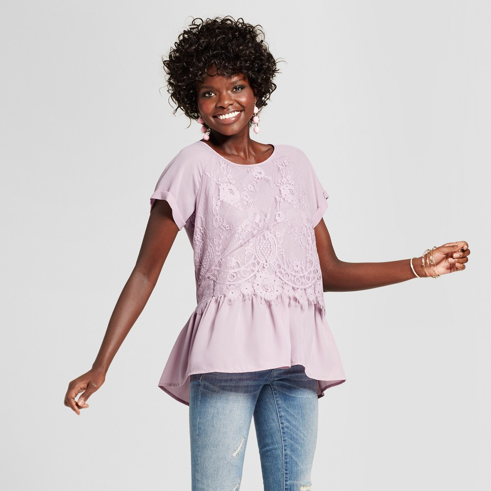 Womens Lace Peplum Short Sleeve Top - Grayson Threads (Juniors) Purple L