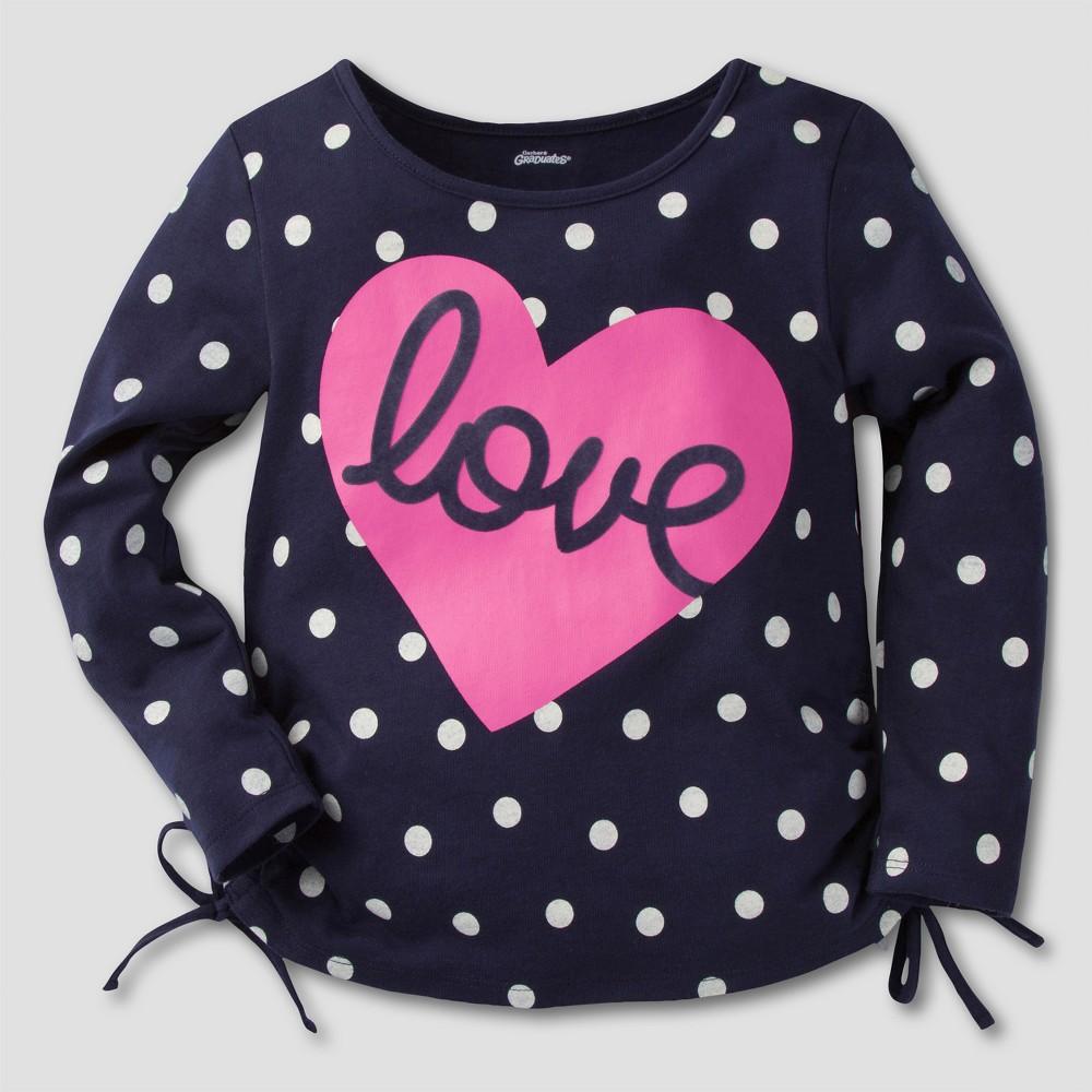 Gerber Graduates Toddler Girls Long Sleeve Love Tunics - Navy & Pink 5T, Blue