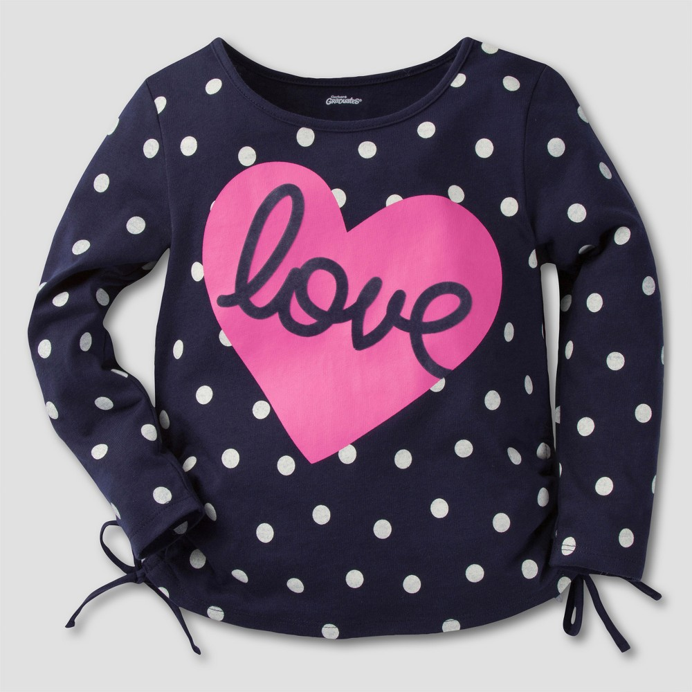Gerber Graduates Toddler Girls Long Sleeve Love Tunics - Navy & Pink 12M, Blue