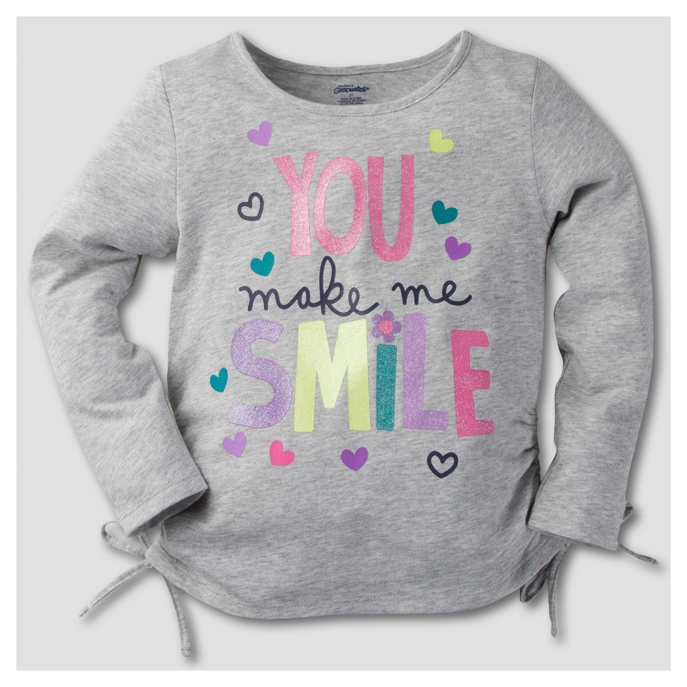 Gerber Graduates Toddler Girls Long Sleeve You Make Me Smile Tunics - Light Gray 4T