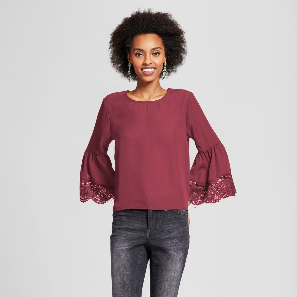 Womens Lace Bell Sleeve Top - Grayson Threads (Juniors) Red M