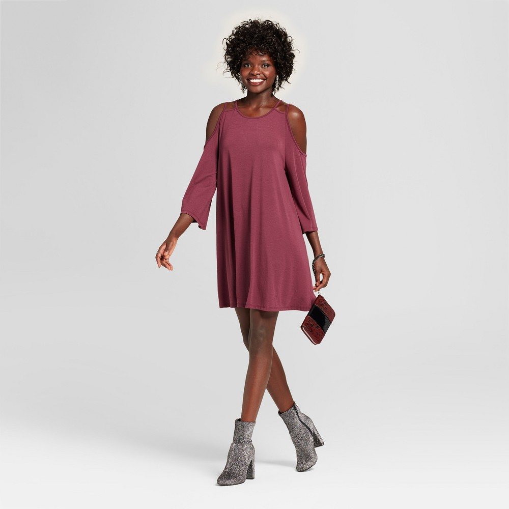Womens Strappy Cold Shoulder Bell Sleeve Dress - Grayson Threads (Juniors) Burgundy (Red) M