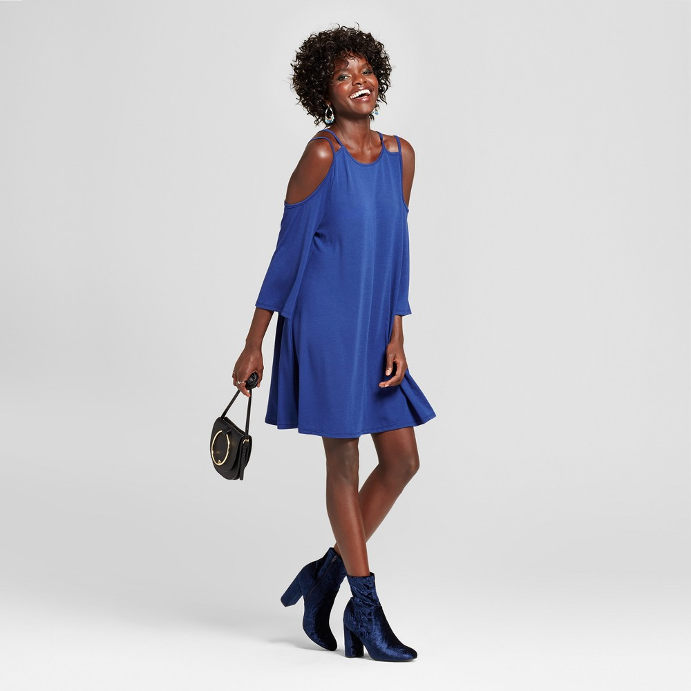 Womens Strappy Cold Shoulder Bell Sleeve Dress - Grayson Threads (Juniors) Blue XL