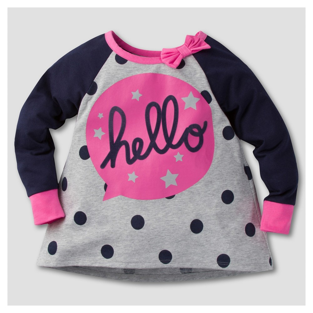 Gerber Graduates Toddler Girls Long Sleeve Hello Tunics - 18M, Gray