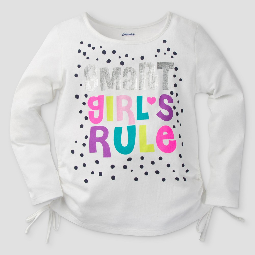 Gerber Graduates Toddler Girls Long Sleeve Smart Girls Rule Tunics - White 5T