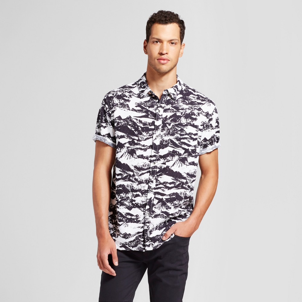 Mens Cutoff Button Down T-Shirt - Jackson Black & White S