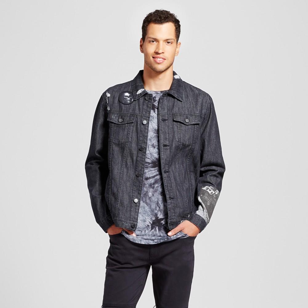 Mens Patched Trucker Jean Jacket - Jackson Charcoal XL, Gray