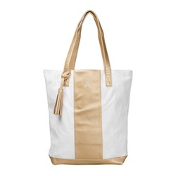 Women's Monogrammed Gold Striped Leather Tote - Cathy's Concepts