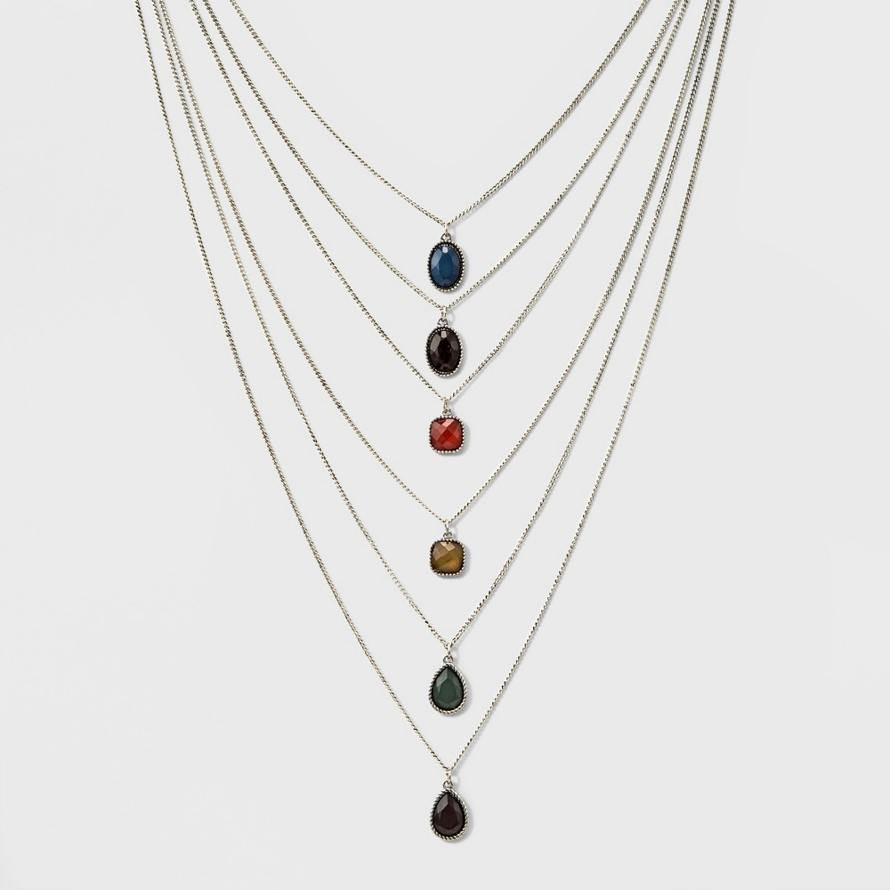 Womens Gen Tribe Layered Necklace with Stones - (29/26/23/20/18/16+3), Dark Silver