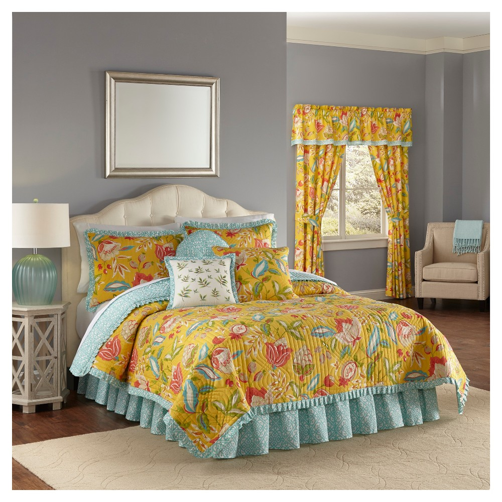 Yellow Floral Modern Poetic Reversible Quilt Set (Twin) 3pc - Waverly