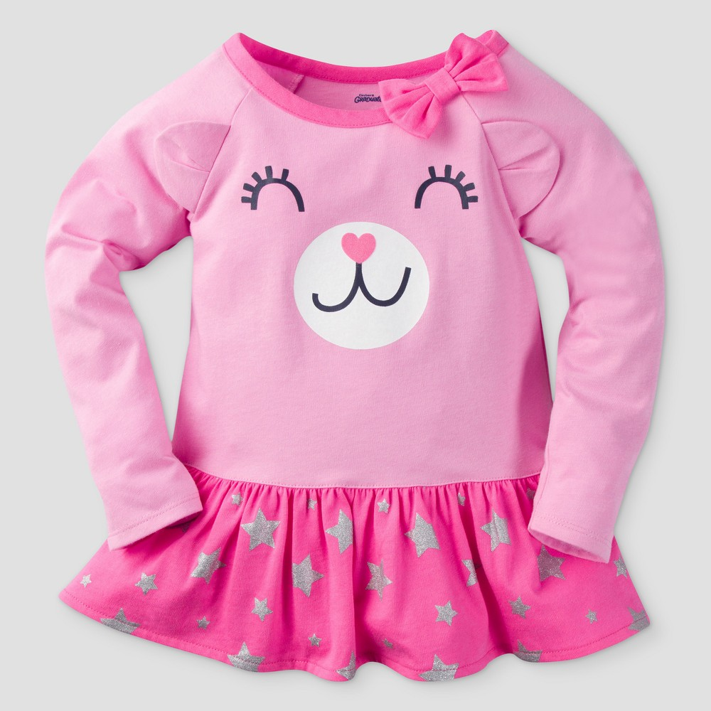 Gerber Graduates Toddler Girls Long Sleeve Bear Face with Stars Tunics - Pink 04T, Size: 4T
