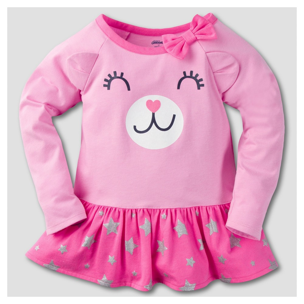 Gerber Graduates Toddler Girls Long Sleeve Bear Face with Stars Tunics - Pink 24M