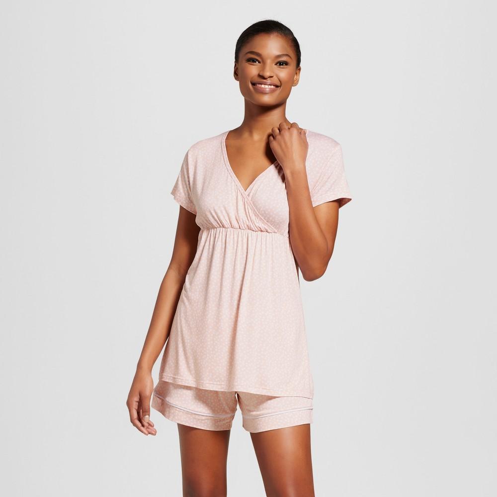 Maternity Nursing Lamaze Surplice Top & Shorts Pajama Set - Pastel Peach XL, Womens, Pink