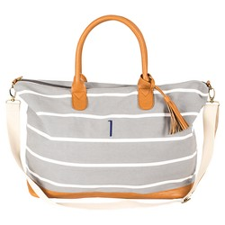 Women's Monogrammed Gray Striped Oversized Weekend Tote - Cathy's Concepts