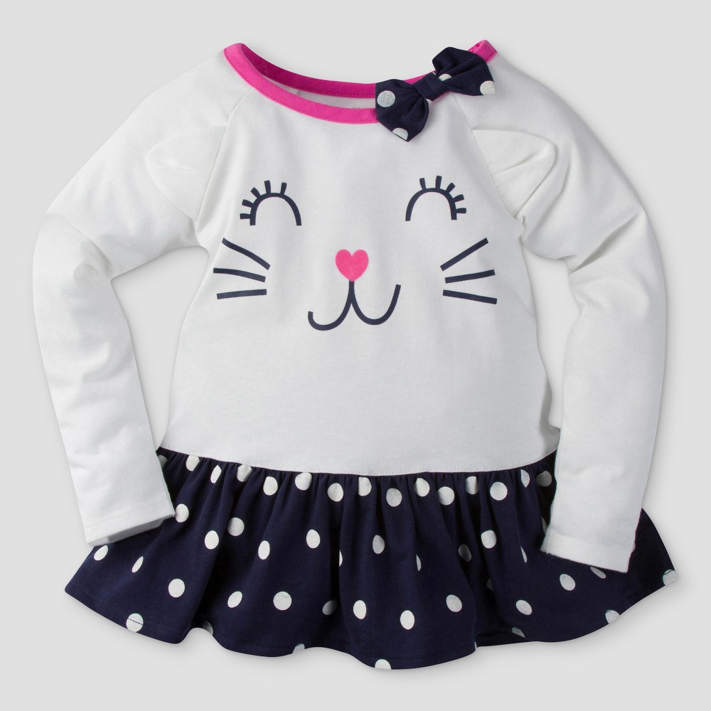 Gerber Graduates Toddler Girls Long Sleeve Kitty Face with Polka Dots Tunics - White & Navy 12M