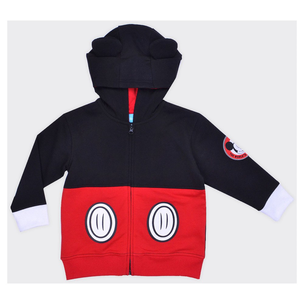 Toddler Boys Mickey Mouse Costume Hoodie - Black 2T