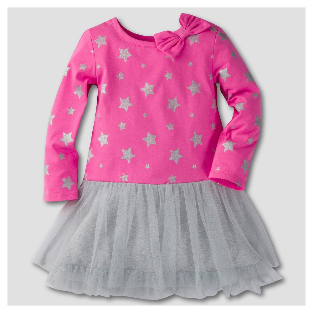 Gerber Graduates Toddler Girls Long Sleeve Stars with Tulle A Line Dresses - Pink & Gray 12M