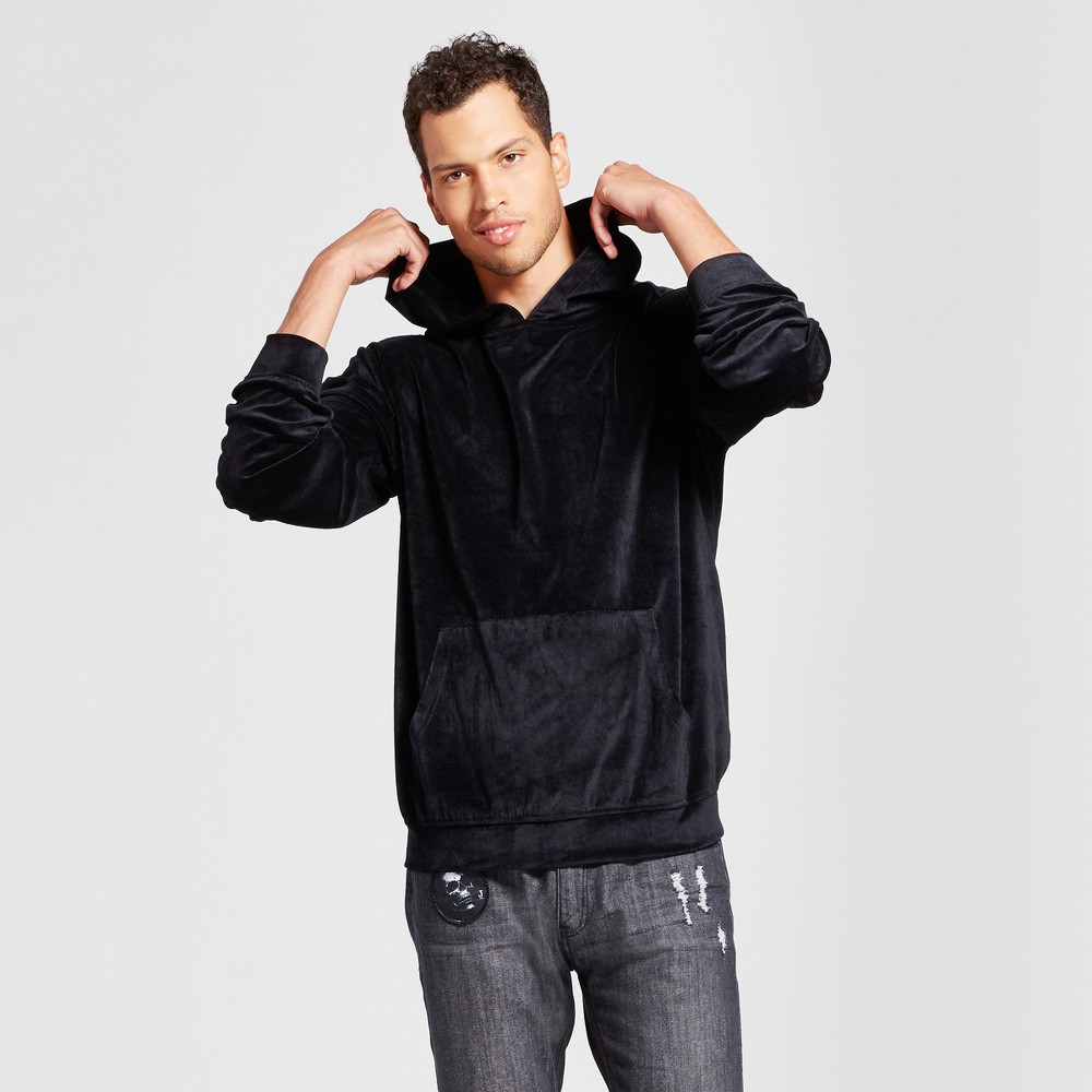 Mens Velour Long Sleeve Hoodie - Jackson Black L