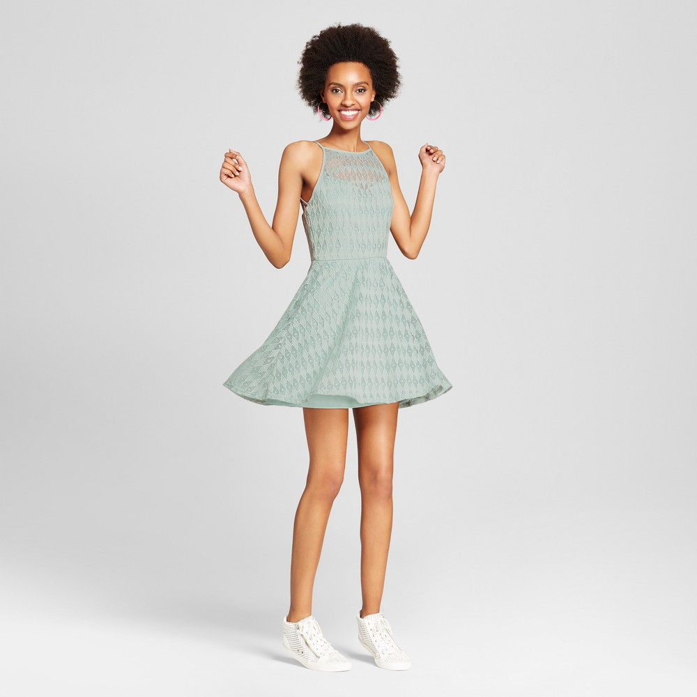Womens Lace Halter Dress - Lily Star (Juniors) Green XL, Brown