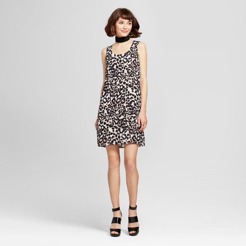 Womens Leopard Print Lattice Back Dress - Lily Star (Juniors) Black S