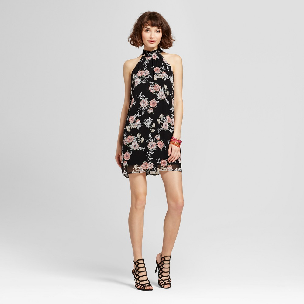 Womens Floral Smocked Neck Shift Dress - Lily Star (Juniors) Black M