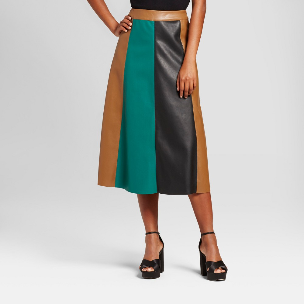 Womens Paneled Swing Skirt - Who What Wear Green Colorblock 12, Yellow