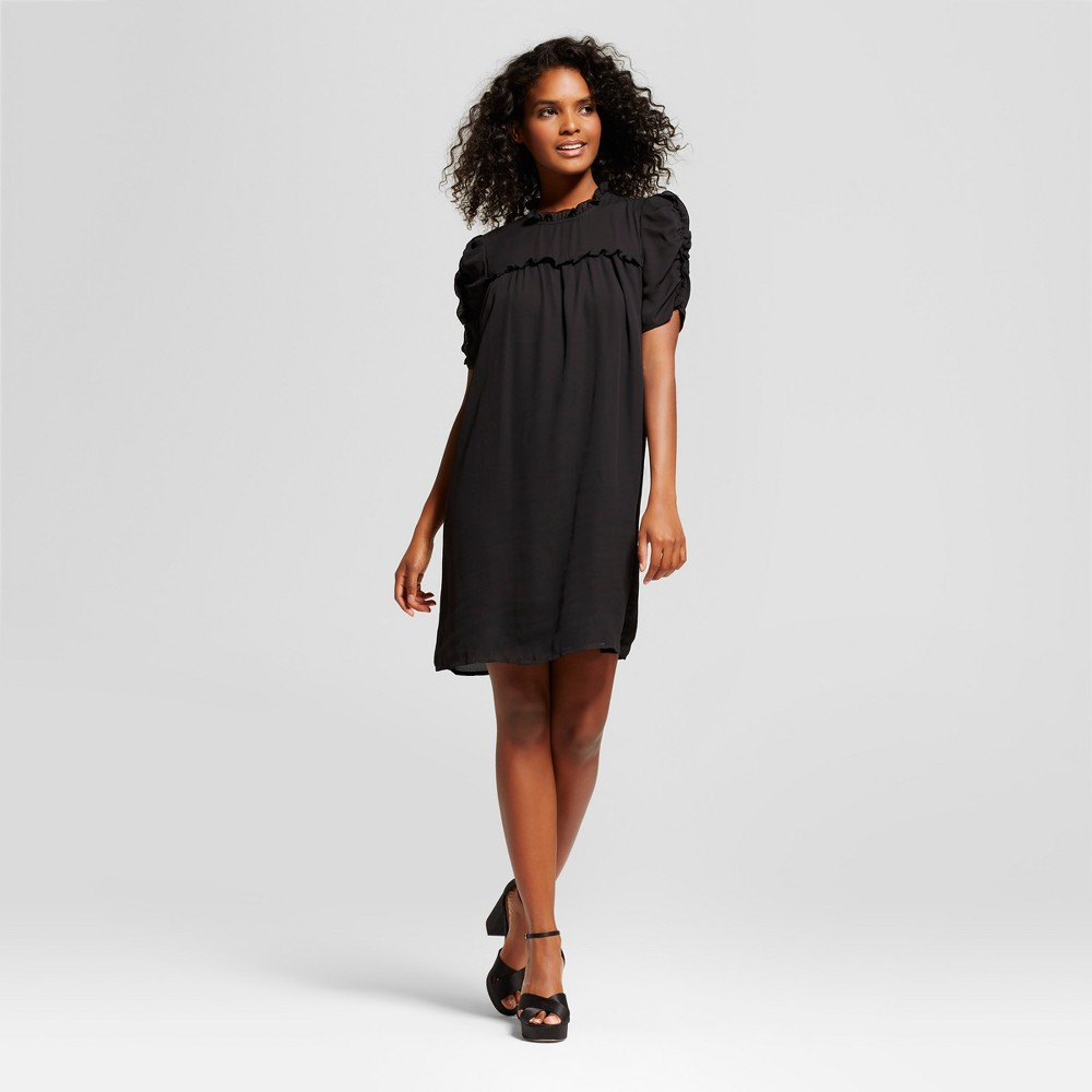 Womens Drapey Doll Dress - Who What Wear Black L