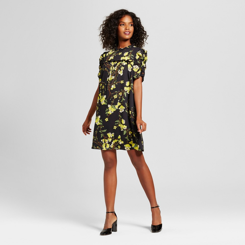 Womens Drapey Doll Dress - Who What Wear Black Floral S