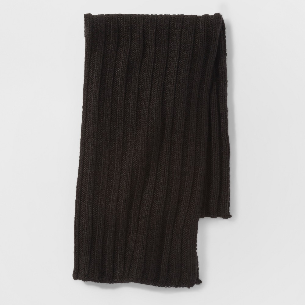 Mens Rib Knit Scarf With Neps - Goodfellow & Co Black Heather One Size